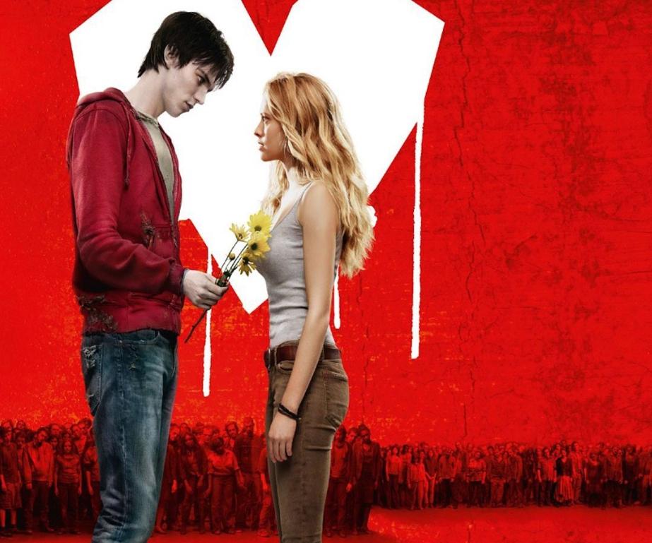 Постер к фильму Тепло наших тел. Зомби дарит цветы девушке.