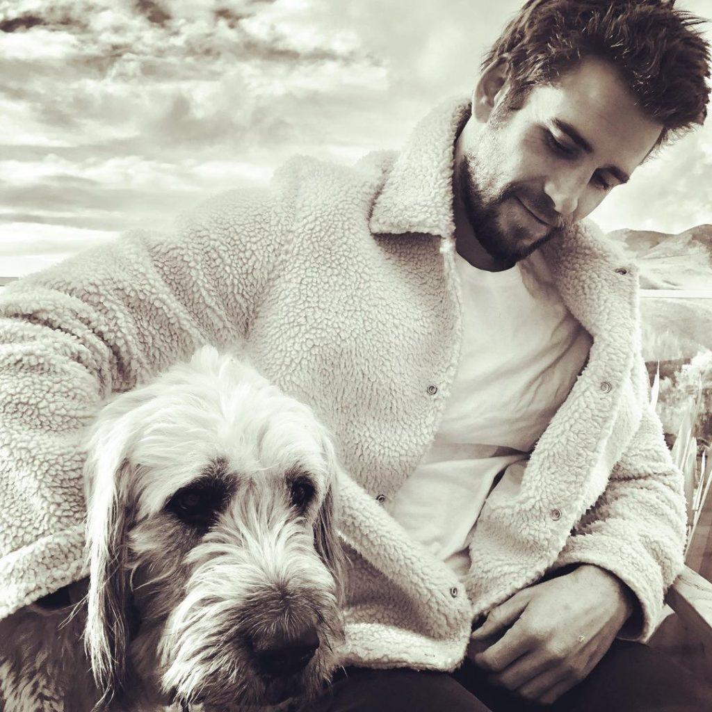Киноактер Лиам Хемсворт вместе с собакой.