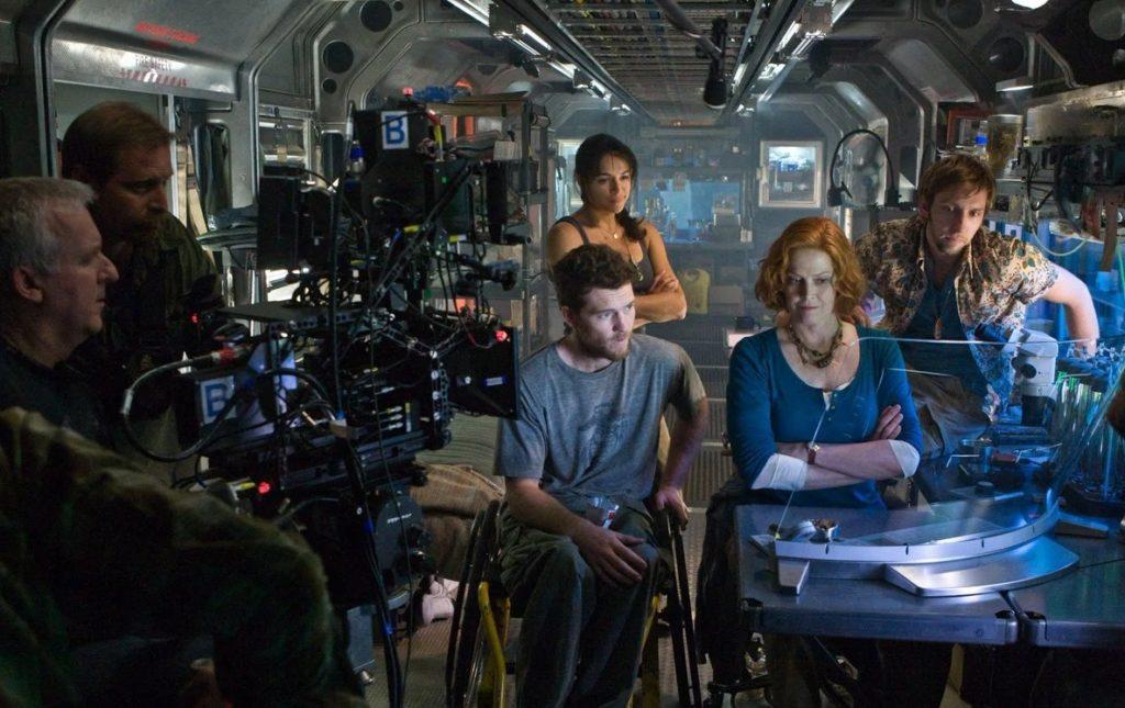 Актер Сэм Уортингтон на съемках фильма Аватар.